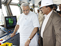 The Honourable Chief Minister of Gujarat Mr. Modi's visit for inauguration of Hull # 307