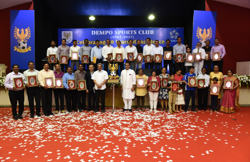 Dempo players and some of their representatives are delighted in the company of chief minister Manohar Parrikar, club president Shrinivas Dempo and AIFF president Praful Patel after being felicitated for being among the club's 50 best players of all time.