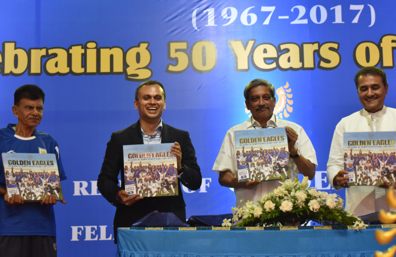 From left to right: Inacio Fernandes, Dempo player from the first team in 1967, club president Shrinivas Dempo, Goa chief minister Manohar Parrikar and AIFF president Praful Patel release Golden Eagles, a commemorative book that celebrates Dempo's rich 50 year history