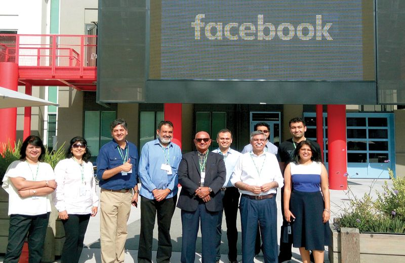 Shrinivas V. Dempo, chairman, Dempo Group of Companies, Sunil Kant Munjal, chairman, Hero Enterprise, and T V Mohandas Pai, chairman, Manipal Global Education Services seen along with other members during the visit to Facebook at Silicon Valley