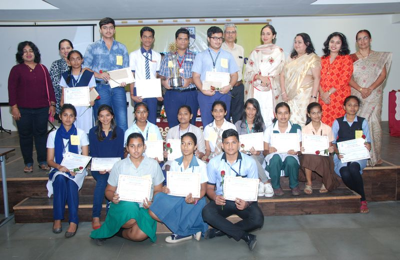 Winners of the Vasudeva V. Dempo Memorial, All Goa Inter H.S.S. Elocution Competition seen along with Trustee, DCT's, Smt. Pallavi S. Dempo, Administrator, Shri. Rajesh Bhatikar, Principal, Smt. Rupa Khope, Judges and other dignitaries.