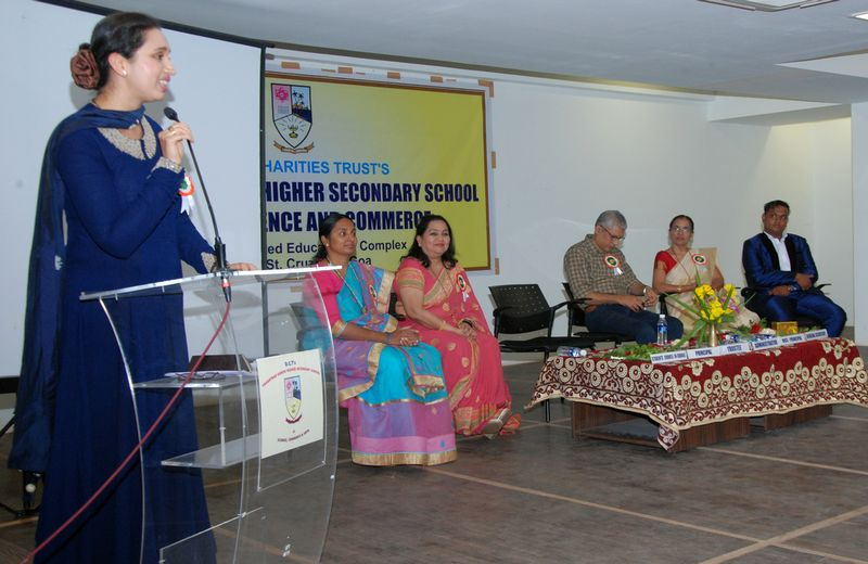 The Chief guest for the Annual Prize Distribution Ms. Pallavi Dempo, trustee of Dempo Charities Trust seen addressing the gathering in the presence of Administrator of DCT's Mr. Rajesh Bhatikar, Principal, Mrs. Rupa Khope, Vice Principal, Mrs. Rekha Gurrala, Students Council in Charge, Mrs. Aparna Dhawaliker and General Secretary, Mrs. Nikhil Verma.